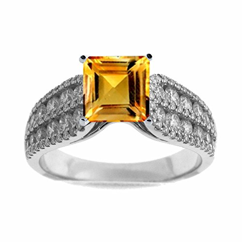 Tdw Ring Citrine Diamond - 14K White Gold 1.00ct TDW Diamond Engagement Ring With 3/4ct Citrine Square Center (G, SI1-VS2)