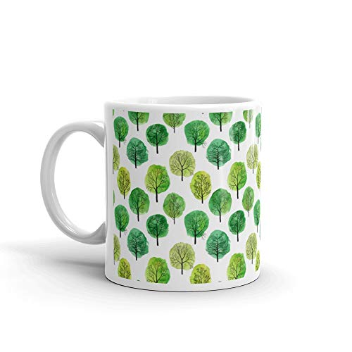 (Seamless Pattern With Deciduous Trees Trunk Tea Mugs Ceramic Cups 11 Oz )
