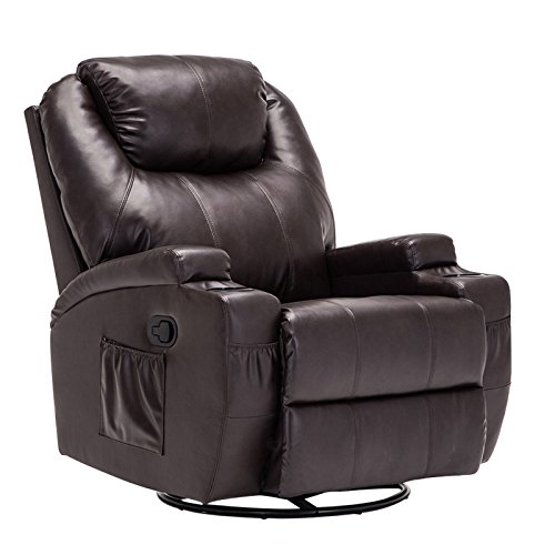 Mecor Massage Recliner Chair, Leather Heated Recliner Sofa with Cup Holder for Living Room Lounge Furniture(Brown)