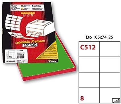 8 etichette da 105x74mm 210C512VE Etichette Markin adesiva C//512 verde 100 fogli A4