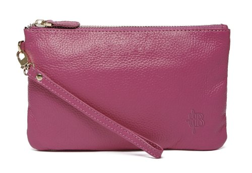 Mighty Purse Genuine Leather Phone Charging Wristlet Wallet (Poppy Pink)