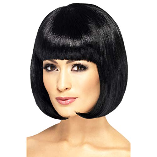 Smiffys Women's Short Black Bob with Fringe, 12 inch, One Size, Partyrama Wig, 42389