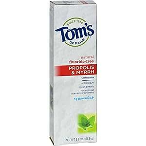 Tom's of Maine Propolis & Myrrh Natural Fluoride Free Toothpaste, Spearmint 5.5 oz (155 g) (Pack of 6)