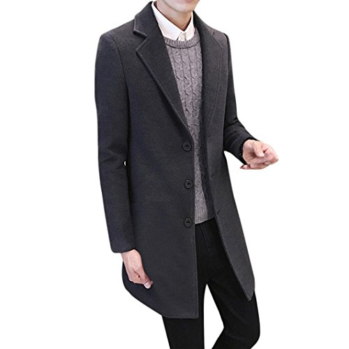 e33fd9a21567 PLOT Men Formal Single Breasted Figuring Overcoat Long Wool Jacket ...