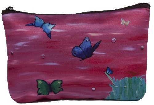 Butterfly Cosmetic Bag, Zip-top Closer - Taken From My Original Paintings (Butterfly Learning to Fly)