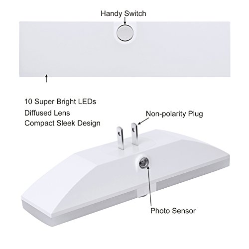 DEWENWILS 2 Pack LED Night Light, 3 Brightness Levels Nightlight with Dusk to Dawn Sensor, Plug in Bright Soft White Night Lights for Garage Hallway Bathroom Kitchen and Living Room, UL Listed by DEWENWILS (Image #3)
