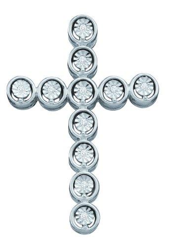 10 k or blanc Diamant 0,04 Dwt Rough Pendentif Or Croix de haute qualité Or 9 Carats JewelryWeb