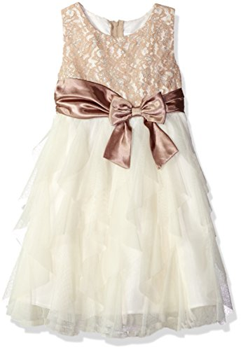 Rare Editions Girls' Little Lace and Mesh Special Occasion Dress, Taupe/Ivory 4 ()