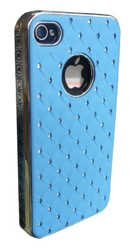 avci Base strass diamant Hard Coque pour Apple iPhone 4/4S Bleu