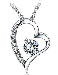 sephla 14k White Gold Plated Forever Lover Heart Pendant Necklace