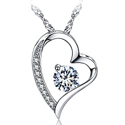 Sephla White Gold Plated Heart Necklace