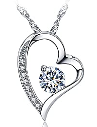 14k White Gold Plated Forever Lover Heart Pendant Necklace