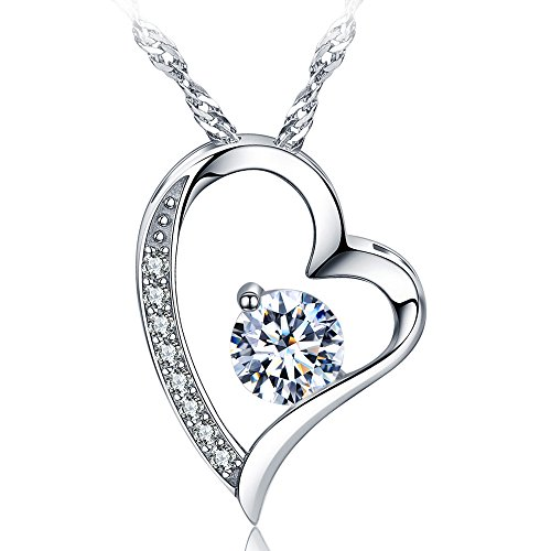 14K White Gold Overlay Sterling Silver Forever Lover Heart Pendant Necklace