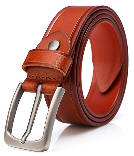 - Men's 100% Italian Cow Leather Dress Belt Men With Anti-Scratch Buckle,Packed in a Box (Type 4-3, 115CM (waistline:33''- 39''))