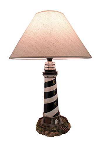 Cape Hatteras Black and White Striped Lighthouse Lamp ()