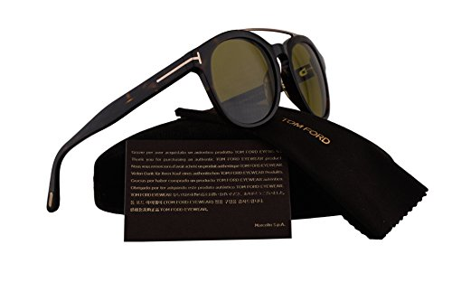 Tom Ford FT0515 Newman Sunglasses Dark Havana Gold w/Green Lens 52N - Ford Newman Tom