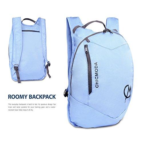 Packable Rucksack, CHICMODA leichte Reise Daypack wasserdicht Wandern Reisen faltbare Outdoor Hellblau