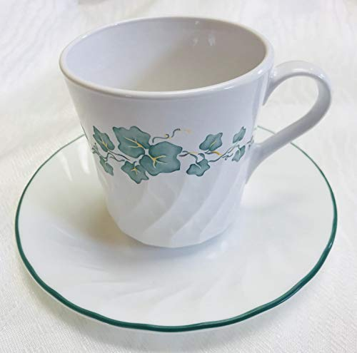 Corning Corelle Callaway Ivy Mugs & Saucers - Set of 4 Ea.