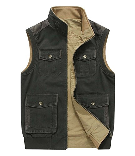 (CRYSULLY Men's Vest Multi Pockets Photography Climbing Casual Tactical Multi Use Vest Army Green/US XL/Tag 5XL)