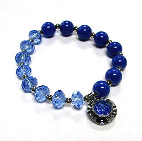 (Woman Bracelet/ Crystal Spinner Lucky Charm/ Birthstone Color/ September-Sapphire)