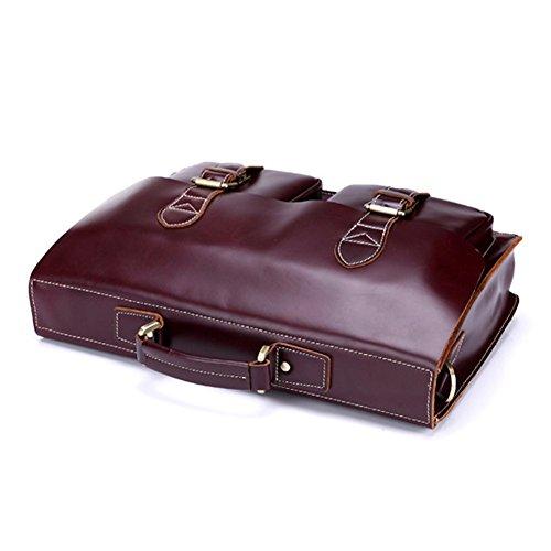 Yimidear borsa uomo in pelle a spalla a mano messaggero business viaggio laptop entro 14
