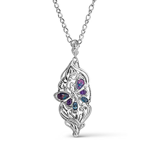 Carolyn Pollack Sterling Silver Opal, Purple Amethyst and Blue Topaz Gemstone Butterfly Pendant Necklace 18 Inch