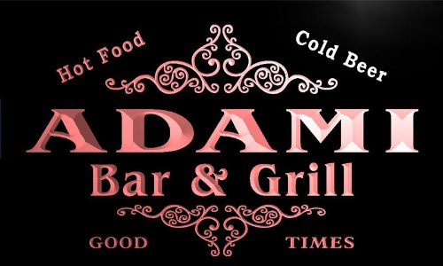 U00180 R Adami Family Name Bar   Grill Cold Beer Neon Light Sign