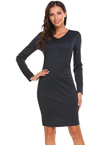Zeagoo Women's V-neck Long Sleeve Slim Bodycon Pencil Dress Wear to Work Party Business Dress Navy Blue L
