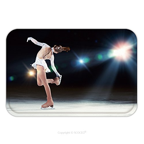 Figure Skating Costumes Designers (Flannel Microfiber Non-slip Rubber Backing Soft Absorbent Doormat Mat Rug Carpet Little Girl Figure Skating At Sports Arena 153595232 for Indoor/Outdoor/Bathroom/Kitchen/Workstations)