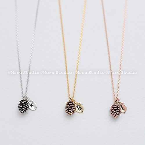 Dainty Pinecone Necklace, Initial Leaf Necklace/ Mini Pinecone, Pine Cone Necklace, Nature Jewelry, Nature Necklace, Gold, Silver Rose gold, Minimalist NPL048