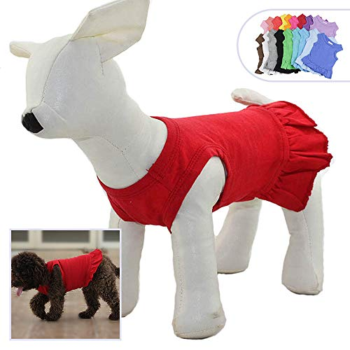 Pet Clothes Small Dog Clothing Blank Color Sport Dress T-Shirts Tee Dresses Tanks Top for Small Size Female Dogs Summer Spring Pet Costumes 100% Cotton (XL, ()