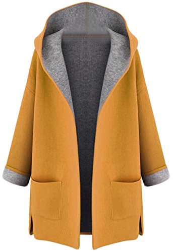 n Slim Woolen Coat Jacket Yellow XXL ()