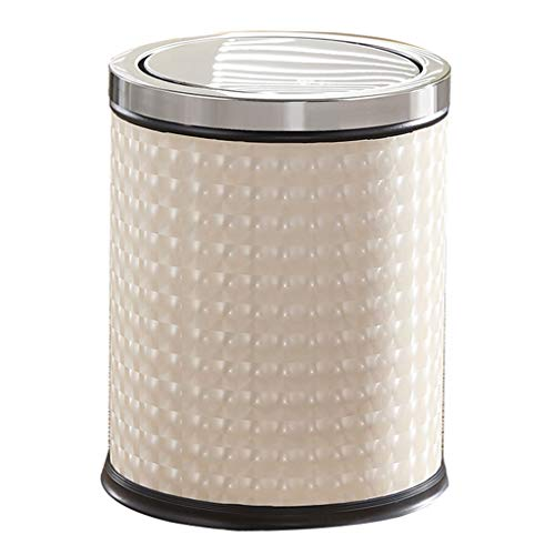 ZHAS Trash can Golden Shell Pattern Trash Bin Stainless Steel Waste Can for Livingroom Bathroom Office with Swing-top Lip Soft Closing Fitting Anti-Fingerprint