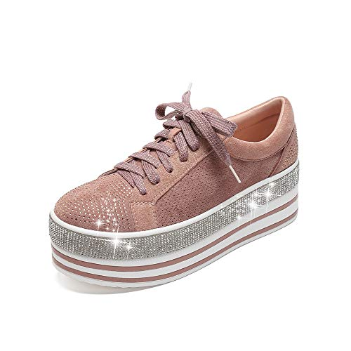 Mackin J 409-1 Women's Faux Leather Platform Lace Up Sneaker with Faux Diamonds(10, Blush)