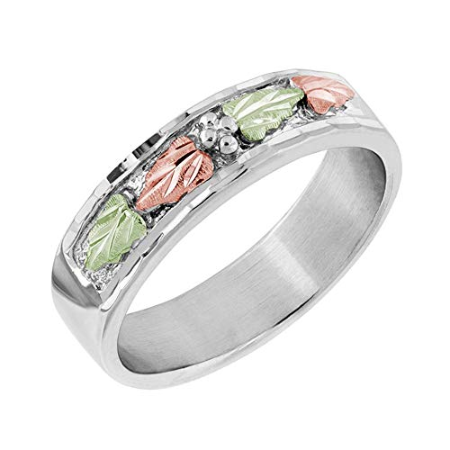 Landstroms Ladies Black Hills Silver Wedding Ring with 12k Gold Leaves - MRL02146