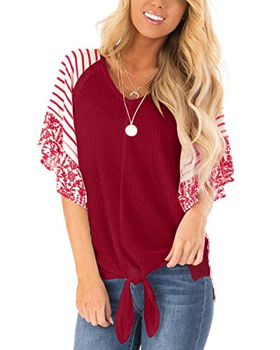 Eshavee Womens Loose Blouse Short Sleeve Tie Knot Waffle Knit Bell Sleeve T Shirts Striped Patterned Tops Red (Patterned Tops)