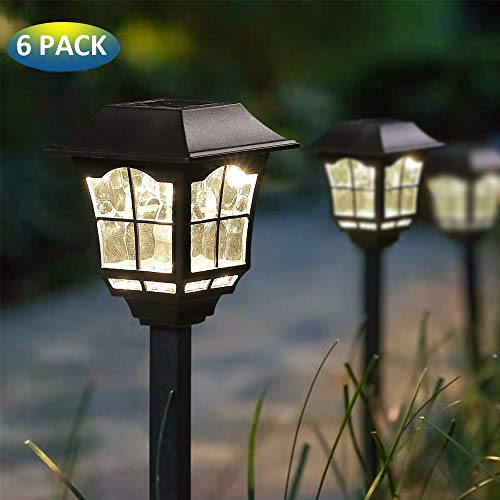 MoSolar 6 Lumens Solar Path Lights Outdoors Waterproof Security Solar Garden Lights Solar Powered LED Landscape Lights, Automatic Led for Patio, Yard, Walkway, Garden and Driveway, 6 Pack ()