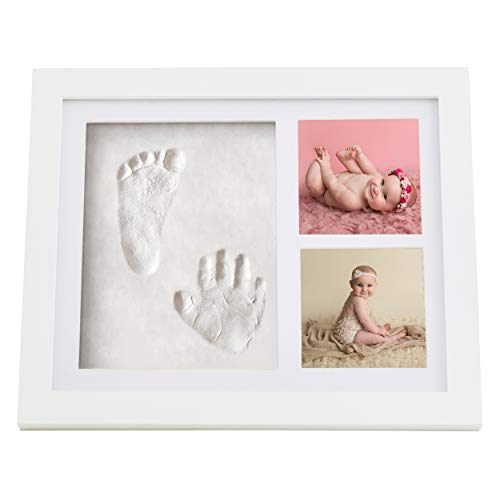 (HopTot Newborn Baby Handprint, Footprint & Photo Frame Kit | Photo Album Memory for Baby Boys & Girls | Baby Shower Registry Gift Idea & Nursery Wall Decor | Must Have Decoration Set for New Moms)