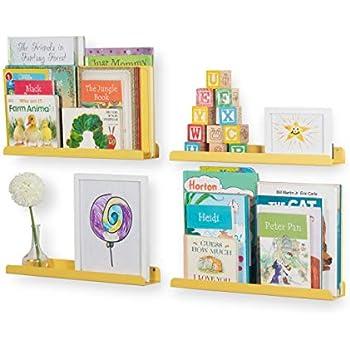 Wallniture Sedona Wall Mounted Floating Shelves for Nursery Decor Kid's Room Bookshelf Display Picture Ledge Yellow Set of 4