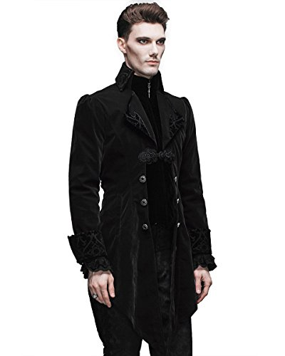 terciopelo negro color para Fashion hombre Devil Steampunk Juego fangbanger Regency de de chaqueta perchero pared z8Bavw