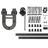 Vancleef 13FT Single Door Kit Sliding Barn Door Hardware, Horseshoe Design, Industrial Strength, Black Rustic, Interior and Exterior Use, With Quiet Glide Roller and Descriptive Installation Manual