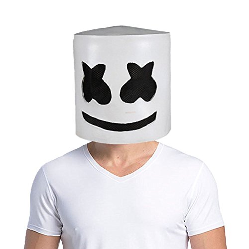(Uecoy Marshmello DJ Mask Full Head Helmet Halloween Cosplay Mask Bar Music Props Novelty Adult)