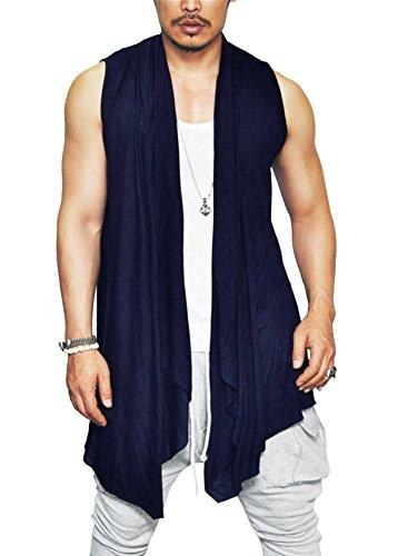 Coofandy Men's Ruffle Shawl Collar Sleeveless Long Cardigan Vest,Navy Blue,X-Large - Long Mens Vest