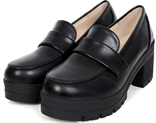 School Girl Shoes (Oxford Shoes for Women Black, Lolita Cosplay Shoes Student Uniform Dress Shoes Waiter Work Shoes Antiskid (7.5, Black))