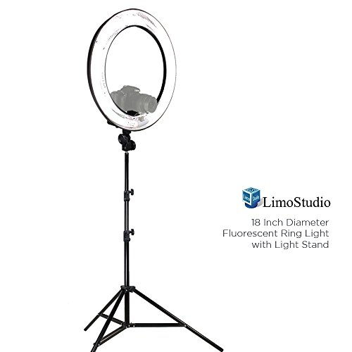 LimoStudio 18'' Ring Light Dimmable Fluorescent Continuous Lighting Kit 5500K Photography Photo Studio Light Stands with Carrying Case, AGG1774V2 by LimoStudio