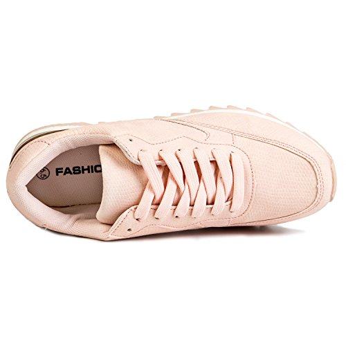 Agsdon Womens Sneakers Casual Fashion Traspirante Scarpe Sportive Leggere Rosa-1