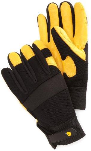 Carhartt Men's Lined Deerskin Work Glove with Neoprene Knuckle Protection, Black/Gold, X-Large ()