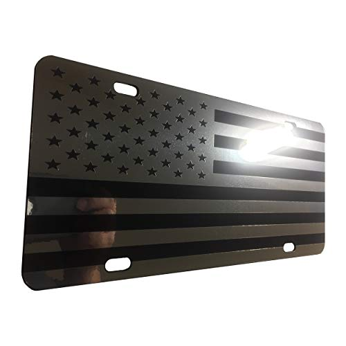 CustoMonsterDesigns US Flag License Plate American Flag License Plate Chrome Mirror Silver on Black Mirror License Plate S4 ()