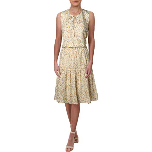 LAUREN RALPH LAUREN Womens Voile Daytime Sleeveless Casual Dress Beige 18