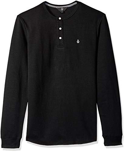 Volcom Men's Layer Stone Long Sleeve Modern Knit Henley Shirt, Black, Extra Small